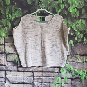 Eileen Fisher Grey Knit Crop Style Top XS
